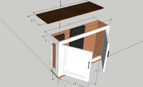 TV Lift Cabinet Dimensions in 3D