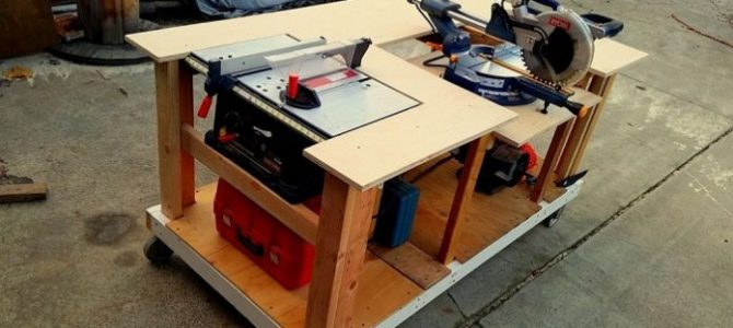 Make A Mobile Workbench with Built-in Table and Miter Saws